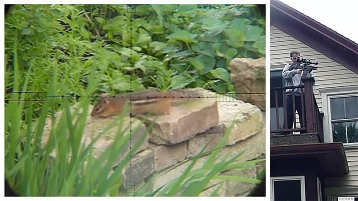 庭に忍び込んだリスをエアガンで撃ち殺すハンターの映像。