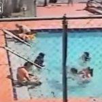 こんなの予期できるわけないだろ・・・プールでまさかの感電する動画。
