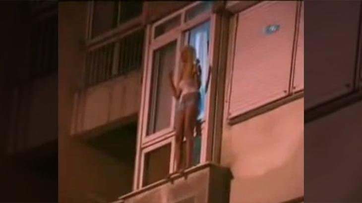【衝撃映像】若い女性がマンションの4階から飛び降り自殺をはかる動画。