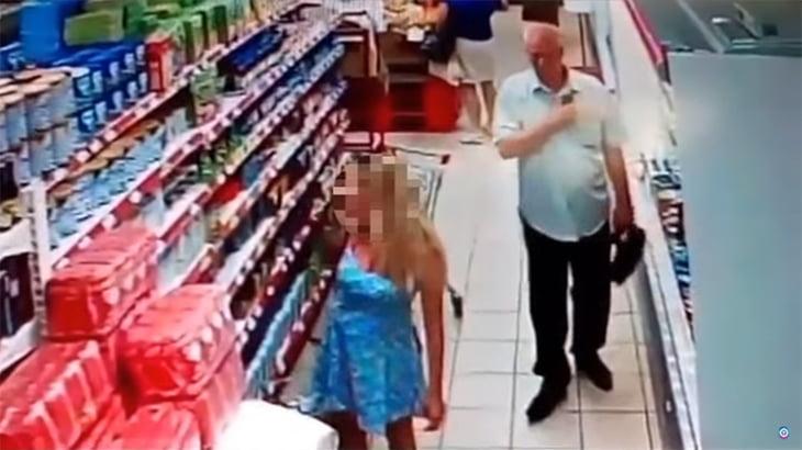 スーパーに現れた変態。スカートの中を盗撮するおっさんの動画。