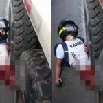 【超!閲覧注意】トラックに潰された男性、下半身がヤバイことになってしまったグロ動画・・・。