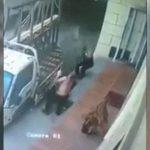 大きな窓ガラスを運搬中、手が滑りガラスで喉を切られてしまった男性。