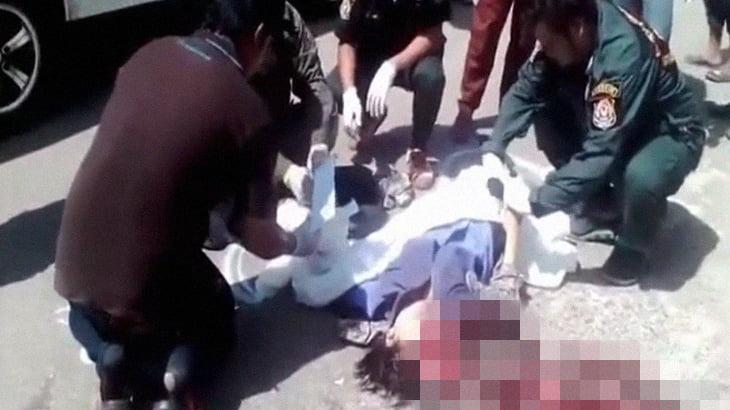 【超!閲覧注意】スクーターに乗った女の子、脳みそ飛び出して死亡したグロ動画。