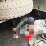 【超!閲覧注意】トラックのタイヤに頭を踏み潰されてしまったグロ動画。