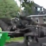 荒ぶる馬、馬車に突っ込んで荷台を粉砕してしまう。