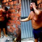 泥棒の男を金属バットで殴りまくる家主。