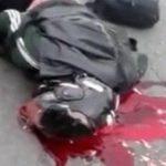 【閲覧注意】バイク事故で死亡した男、ヘルメットが潰れて脳が飛び散ってる・・・。