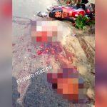 """【超!閲覧注意】バイク事故で """"頭と身体が切断"""" されてしまった男のグロ動画・・・。"""