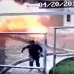 """【衝撃映像】自爆テロの男が """"爆発する瞬間"""" のスローモーション映像。"""