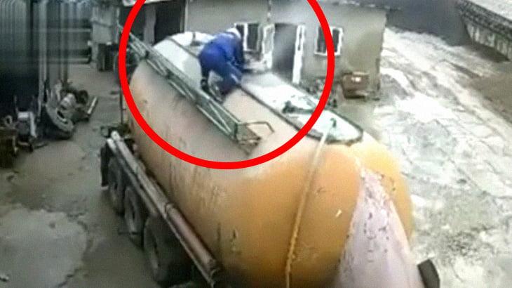 【衝撃映像】こういうタンクの修理ってマジで怖いな・・・。