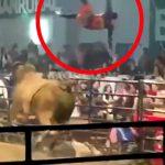 【衝撃映像】ロデオ中にめちゃくちゃ吹き飛ばされてしまう男性。