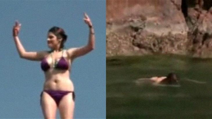 酔っ払った女の子、崖から海にダイブ → 動かなくなる・・・。