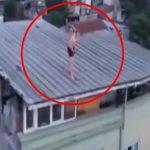 【衝撃映像】麻薬中毒者の男、屋根の上から頭からジャンプして死亡してしまう・・・。