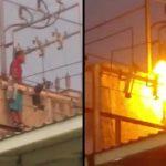 【衝撃映像】高圧電線に触れて一瞬で死んでしまう男・・・。