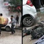 炎上した車内に取り残された人間、丸焦げになってしまう・・・。