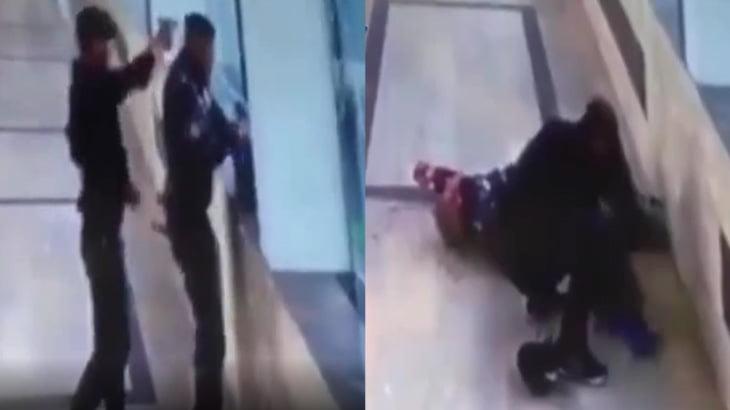 【衝撃映像】不審者の荷物検査をしていた警察官、射殺されてしまう・・・。