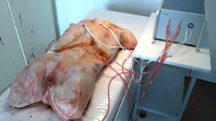 【衝撃映像】胴体だけの人間の死体に空気を入れて呼吸を再現する謎すぎる映像・・・。