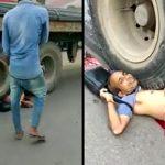 【閲覧注意】トラックに数十メートル引きずられた男、内臓が飛び出したグロ動画。