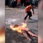 【衝撃映像】モブジャスティスにより生きたまま焼かれてしまった10代の女の子・・・。
