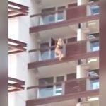 【衝撃映像】ホテルの10階から飛び降り自殺した女性。2アングルの映像。