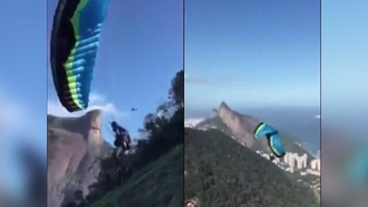 【衝撃映像】パラグライダーの男性、ありえないほどの突風に煽られて墜落死・・・。