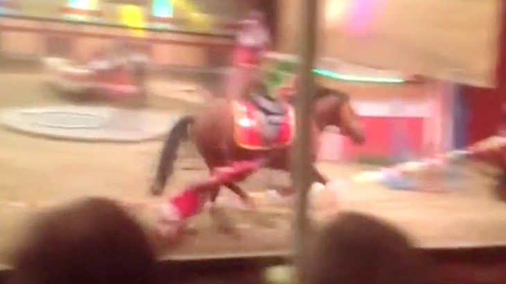 【衝撃映像】サーカス中のアクシデント。馬に引きずられて女性パフォーマーが死亡した映像。
