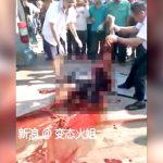 【閲覧注意】トラックに轢かれてグチャグチャになった男の死体を回収するグロ動画・・・。