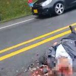 【超!閲覧注意】バイク事故で死んだ男の顔を近くで撮影してみたらヤバすぎた・・・。