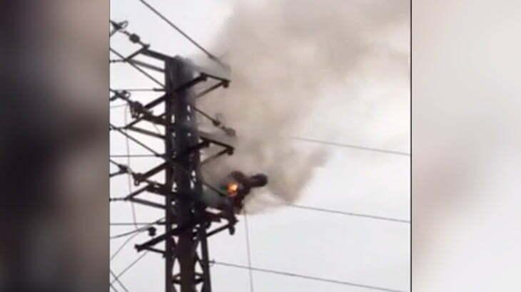 【衝撃映像】高圧電線に絡まり燃え続ける男性の死体・・・。