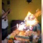 祖母の誕生日を祝うパーティーのはずがパーティースプレーが引火して顔に火傷を負ってしまう・・・。