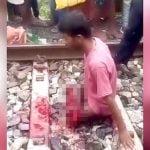 【閲覧注意】列車に轢かれて両脚を失った男、上半身を起こして絶望するグロ動画・・・。