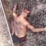 【閲覧注意】列車に轢かれて手首や脚を切断、頭が潰れて死んだ男のグロ動画。