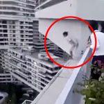 【衝撃映像】大勢が見守る中、17階の高さから飛び降り自殺した女性。