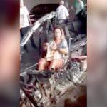 【衝撃映像】車が縦に切断されるほどの事故で無傷だった助手席の女性・・・。