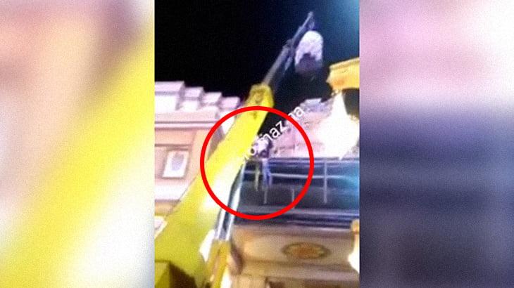 【衝撃映像】クレーン作業中、2人の作業員が高所から転落してしまうアクシデント。