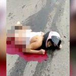 【閲覧注意】トラックに下半身を潰されて死んだ女性バイカーのグロ動画。