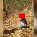 【閲覧注意】森の中でヘッドショットされた男の頭が破裂してしまうグロ動画。