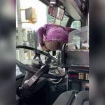 バスの車内でおしっこをしてしまうイカれた女。
