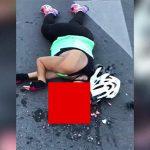 【閲覧注意】ヘルメットを着用していたサイクリストの女性、顔面を強打して脳が飛び出てしまったグロ動画。