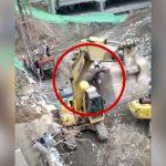 油圧ショベルのバケットに乗り高い場所で作業していた男性、転落してしまう・・・。