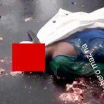 【閲覧注意】頭が割れて脳が飛び散った男性の死体を撮影したグロ動画。
