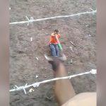 【衝撃映像】座った状態で闘牛と向かい合った男、角で刺されて死亡・・・。