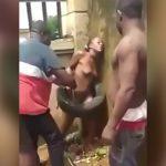 携帯電話を盗んだ女の子、全裸にされてリンチされる映像。