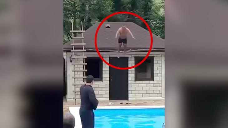 屋根の上からプールに飛び込もうとして死んでしまった男・・・。