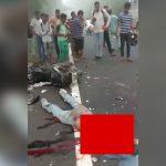 【閲覧注意】バイク事故で胸から上が切断されて死亡したグロ動画。