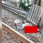 【閲覧注意】列車に胴体真っ二つにされて死亡した男性のグロ動画。
