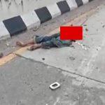 【閲覧注意】車と壁に挟まって上半身と下半身が切断されて死亡した男性のグロ動画。