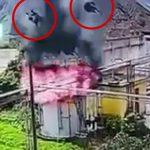 【衝撃映像】何かのタンクの上で作業していた2人、爆発で吹き飛ばされてしまう瞬間。