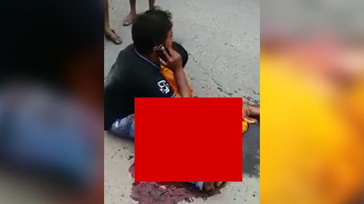 【閲覧注意】事故で下半身がグチャグチャになった妻を抱きかかえるグロ動画。