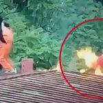【衝撃映像】火炎瓶投げるの下手くそマン、自分の顔を燃やしてしまう・・・。